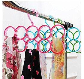 kudos  Plastic Hanger for Scarfs,Ties,Belts  Dupatta,Single Piece 10-Circle Plastic Ring Hanger for Scarf, Shawl, Tie, Belt, Closet Accessory Wardrobe Organizer (Assorted Colors)