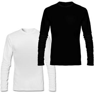 Full Sleeve Men's Black and White Round Neck Combo T-Shirt