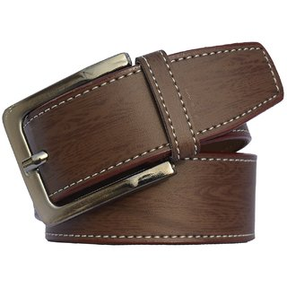 Sunshopping Brown Leatherite Pin-Hole Buckle Belt for Men (Synthetic leather/Rexine)