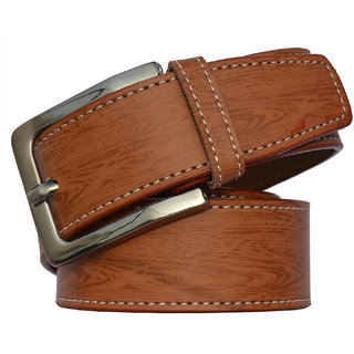 Sunshopping Tan Men Leatherite Pin-Hole Buckle Belt