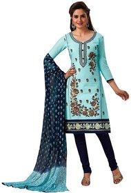 Jevi Prints Women's Unstitched Cotton Blue Resham Embroidered Salwar Suit Dupatta Material