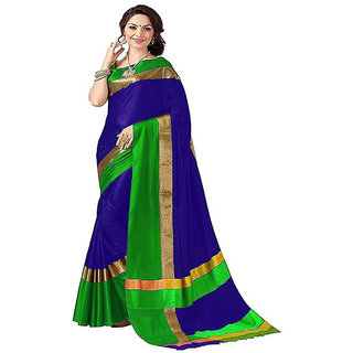 Indianbeauty Embellished Fashion Cotton Silk Saree  (Blue)