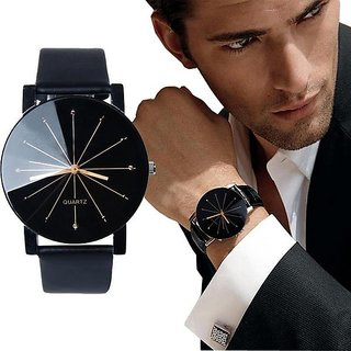 Skmei Black Round Dial Leather Strap Diamond Glass Analog Watch For Men