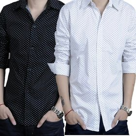 Royal Fashion Dotted White-Black Casual Shirts Combo For Men