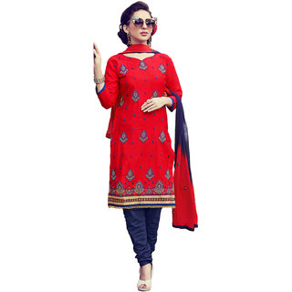 Meia Womens Red and Navy Blue Colored Cotton Satin ThreadZari and Stone Embroidery Festive Wear Unstitched Dress Material