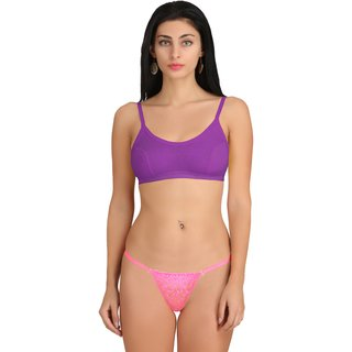 b71e6beacf Buy Madam Non-Padded Sports Bra   Lace G-String Thong Panty Set ...