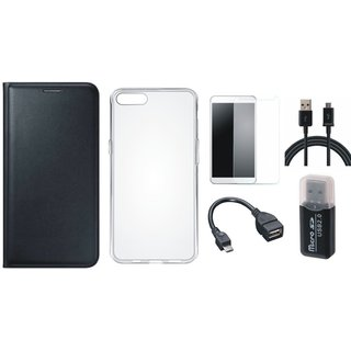 Oppo A71 Leather Cover with Memory Card Reader, Silicon Back Cover, Tempered Glass, OTG Cable and USB Cable