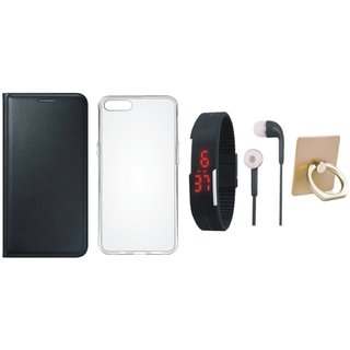 Oppo A71 Leather Cover with Ring Stand Holder, Silicon Back Cover, Digital Watch and Earphones