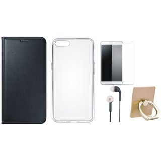 Oppo A71 Leather Cover with Ring Stand Holder, Silicon Back Cover, Tempered Glass and Earphones