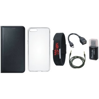 Oppo F7 Premium Leather Cover with Memory Card Reader, Silicon Back Cover, Digital Watch, OTG Cable and AUX Cable