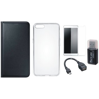 Oppo A71 Flip Cover with Memory Card Reader, Silicon Back Cover, Tempered Glass and OTG Cable