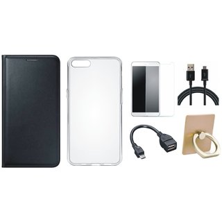 Oppo A71 Leather Cover with Ring Stand Holder, Silicon Back Cover, Tempered Glass, OTG Cable and USB Cable