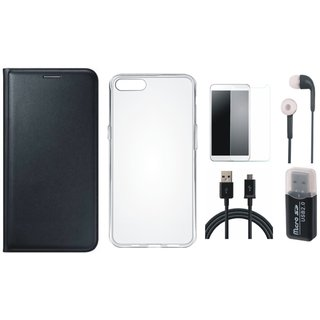 Oppo A71 Flip Cover with Memory Card Reader, Silicon Back Cover, Earphones, Tempered Glass and USB Cable
