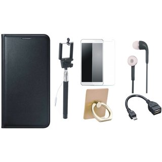 Oppo A71 Leather Cover with Ring Stand Holder, Free Selfie Stick, Tempered Glass, Earphones and OTG Cable