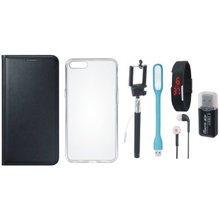 Oppo F7 Premium Leather Cover with Memory Card Reader, Silicon Back Cover, Selfie Stick, Digtal Watch, Earphones and USB LED Light