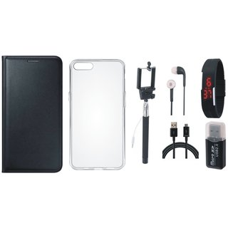 Oppo A71 Flip Cover with Memory Card Reader, Silicon Back Cover, Selfie Stick, Digtal Watch, Earphones and USB Cable
