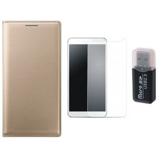 Oppo A71 Premium Leather Cover with Memory Card Reader, Tempered Glass
