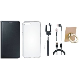 Oppo A71 Leather Cover with Ring Stand Holder, Silicon Back Cover, Selfie Stick, Earphones and USB Cable