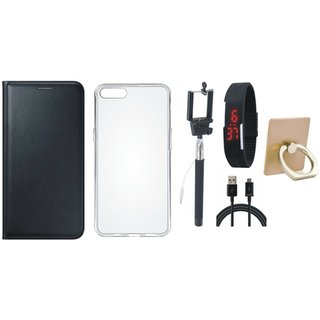Oppo A71 Leather Cover with Ring Stand Holder, Silicon Back Cover, Selfie Stick, Digtal Watch and USB Cable