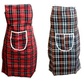Khushi Creation Set of 2 PVC  Cotton Apron