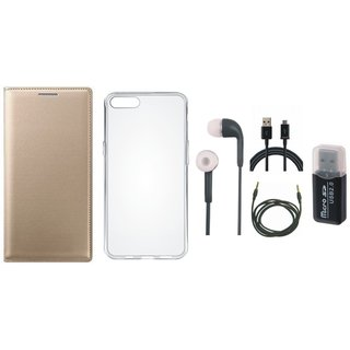 Oppo A71 Premium Leather Cover with Memory Card Reader, Silicon Back Cover, Earphones, USB Cable and AUX Cable