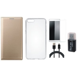 Oppo A71 Premium Leather Cover with Memory Card Reader, Silicon Back Cover, Tempered Glass and USB Cable