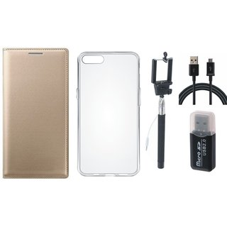 Oppo A71 Premium Leather Cover with Memory Card Reader, Silicon Back Cover, Selfie Stick and USB Cable