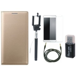 Oppo A71 Premium Leather Cover with Memory Card Reader, Free Selfie Stick, Tempered Glass and AUX Cable