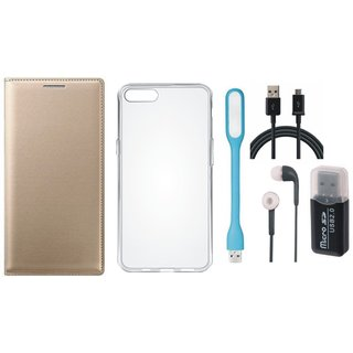 Oppo A71 Premium Leather Cover with Memory Card Reader, Silicon Back Cover, Earphones, USB LED Light and USB Cable