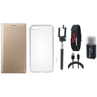 Oppo A71 Premium Leather Cover with Memory Card Reader, Silicon Back Cover, Selfie Stick, Digtal Watch and USB Cable