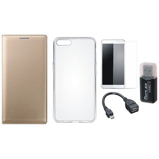 Oppo A71 Premium Leather Cover with Memory Card Reader, Silicon Back Cover, Tempered Glass and OTG Cable