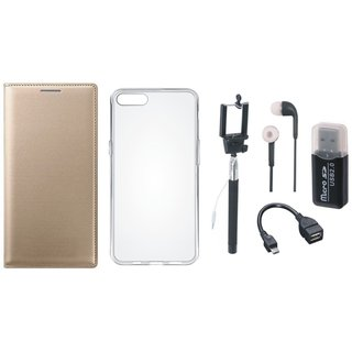 Oppo A71 Premium Leather Cover with Memory Card Reader, Silicon Back Cover, Selfie Stick, Earphones and OTG Cable