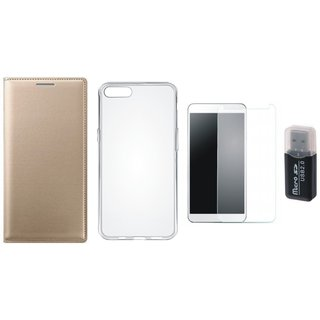 Oppo A71 Premium Leather Cover with Memory Card Reader, Silicon Back Cover, Tempered Glass