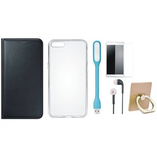 Oppo A71 Flip Cover with Ring Stand Holder, Silicon Back Cover, Tempered Glass, Earphones and USB LED Light