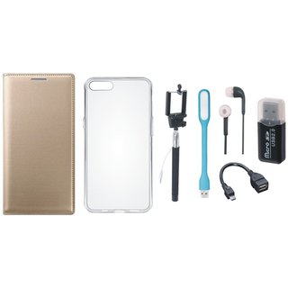 Oppo A71 Premium Leather Cover with Memory Card Reader, Silicon Back Cover, Selfie Stick, Earphones, OTG Cable and USB LED Light