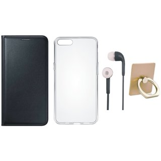 Oppo A71 Flip Cover with Ring Stand Holder, Silicon Back Cover and Earphones