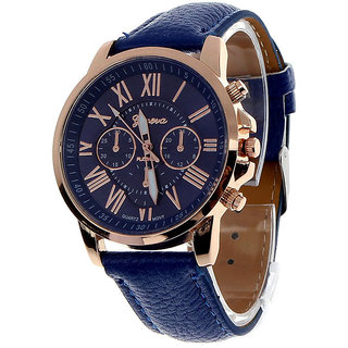 Luxury PU Leather Roman Numerals fashion Style Dress Quartz watch for Women/ Men