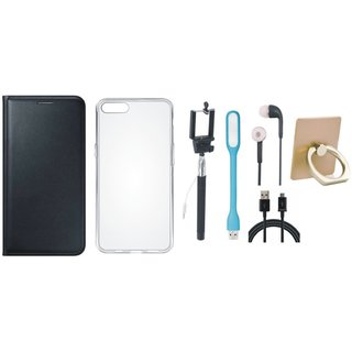 Oppo A71 Flip Cover with Ring Stand Holder, Silicon Back Cover, Selfie Stick, Earphones, USB LED Light and USB Cable