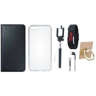 Oppo A71 Flip Cover with Ring Stand Holder, Silicon Back Cover, Selfie Stick, Digtal Watch and Earphones