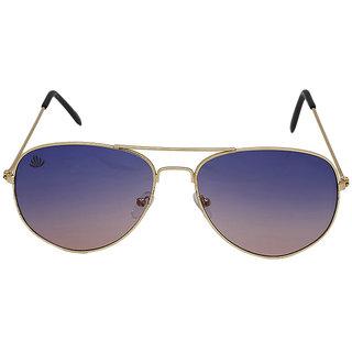 Abloom Men's Sky Blue Aviator Free-size Mirrored Full Rim Sunglasses