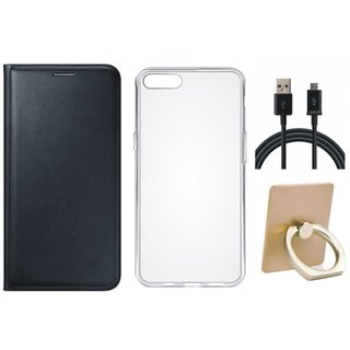 Oppo A71 Leather Flip Cover with with Ring Stand Holder, Silicon Back Cover, USB Cable