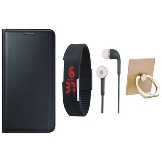 Oppo A71 Leather Flip Cover with with Ring Stand Holder, Digital Watch and Earphones