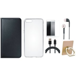Oppo A71 Leather Flip Cover with with Ring Stand Holder, Silicon Back Cover, Tempered Glass, Earphones and USB Cable