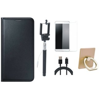 Oppo A71 Leather Flip Cover with with Ring Stand Holder, Free Selfie Stick, Tempered Glass and USB Cable