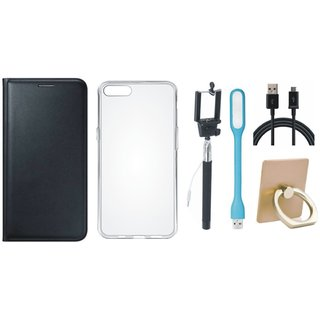 Oppo A71 Leather Flip Cover with with Ring Stand Holder, Silicon Back Cover, Selfie Stick, USB LED Light and USB Cable