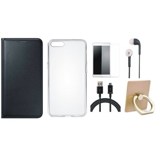Oppo A71 Leather Flip Cover with with Ring Stand Holder, Silicon Back Cover, Earphones, Tempered Glass and USB Cable