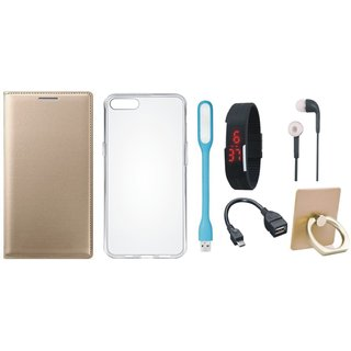Oppo A71 Cover with Ring Stand Holder, Silicon Back Cover, Digital Watch, Earphones, USB LED Light and OTG Cable