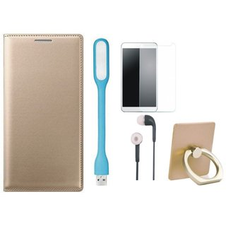 Oppo A71 Stylish Cover with Ring Stand Holder, Tempered Glass, Earphones and USB LED Light