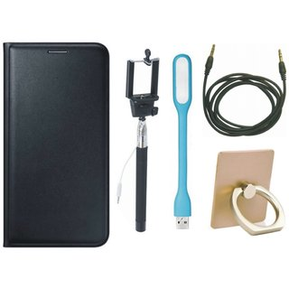 Samsung On7 Prime Leather Flip Cover with with Ring Stand Holder, Selfie Stick, USB LED Light and AUX Cable