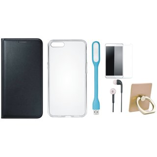 Samsung On7 Prime Leather Flip Cover with with Ring Stand Holder, Silicon Back Cover, Tempered Glass, Earphones and USB LED Light